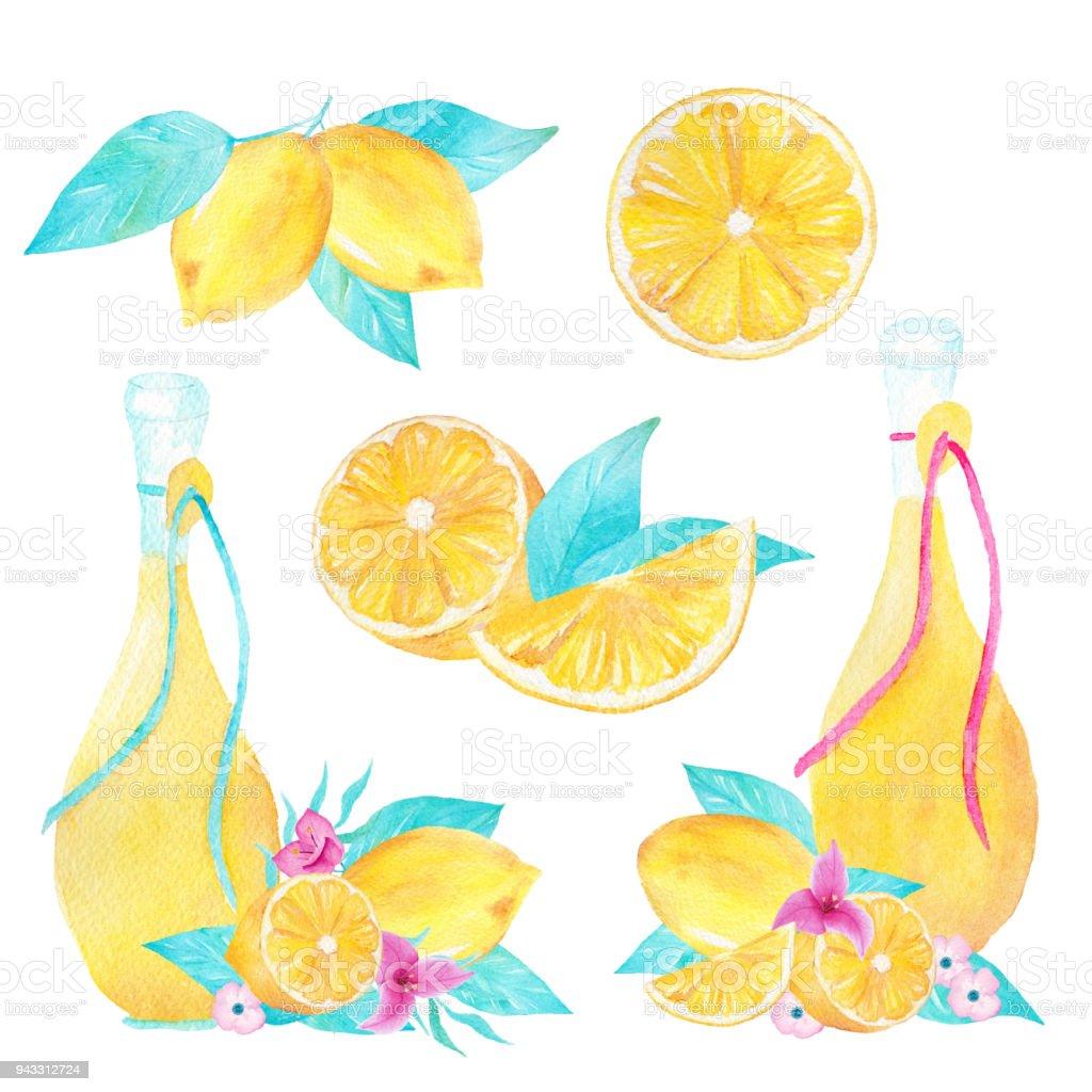 El Beyaz Zemin Uzerine Limon Ve Zeytin Yagi Suluboya Kumesi Boyali
