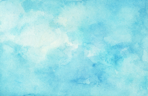 Hand painted watercolor sky and clouds.