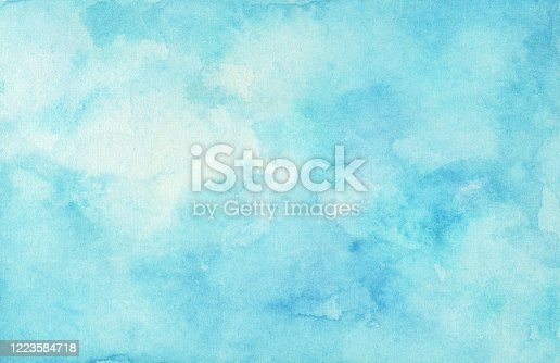 istock Hand painted watercolor sky and clouds. 1223584718