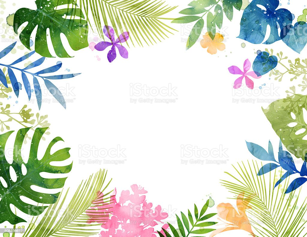 Hand Painted Watercolor Tropical Frame Stock Vector Art & More ...