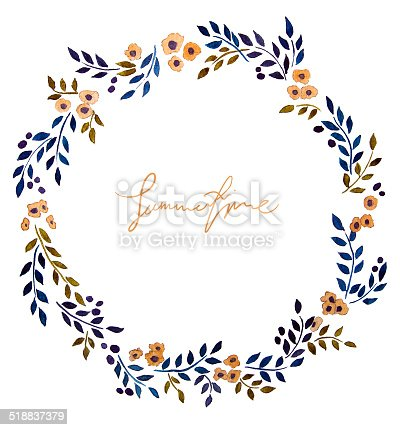hand painted watercolor wreath flower decoration floral art deco vector borders art deco vector borders