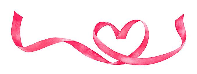 Hand painted watercolour drawing of pink satin heart shaped ribbon.