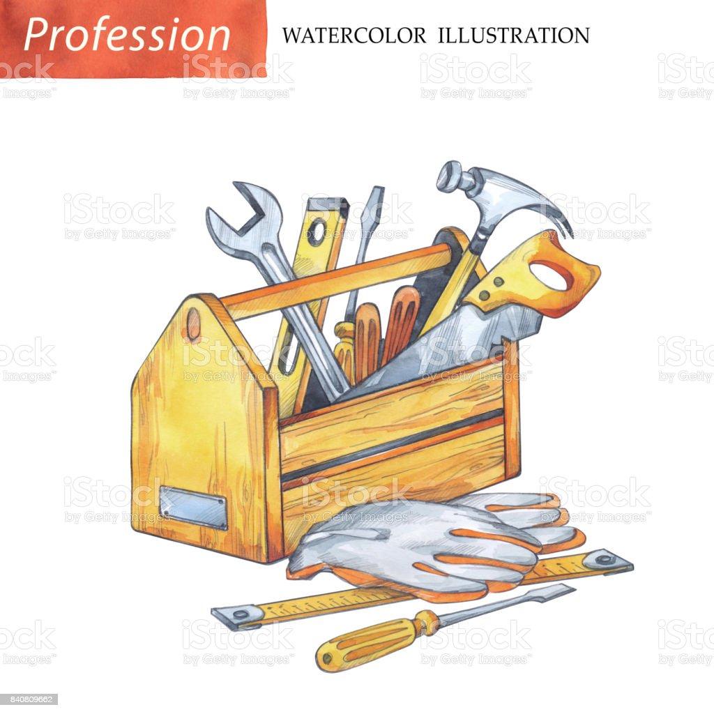手塗りの木製の箱大工道具 ねじ回しのベクターアート素材や画像を多数