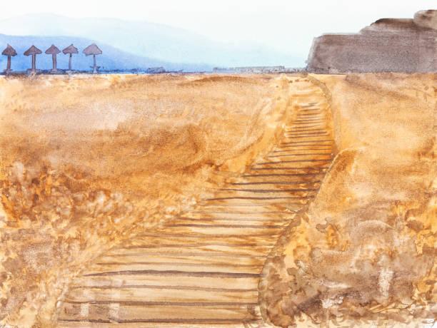 stockillustraties, clipart, cartoons en iconen met hand geschilderd houten voetpad op zandstrand - albufeira