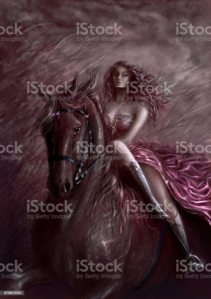 Hand painting digital art with horsewoman in night. vector art illustration