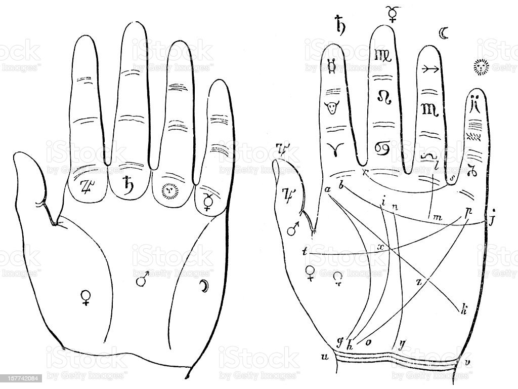 Hand palm-reading palmistry chiromancy diagram vector art illustration