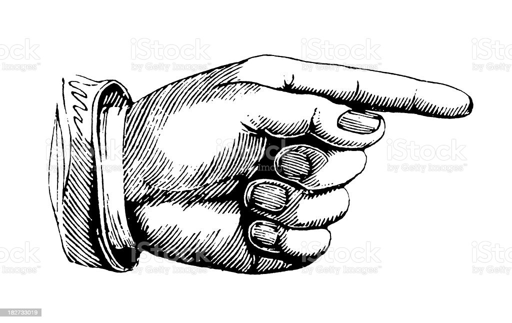 Hand pointing right | Antique Design Illustrations vector art illustration