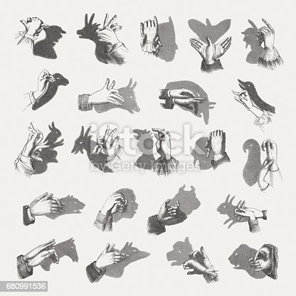 Hand shadow puppets. Wood engravings, published in 1884.
