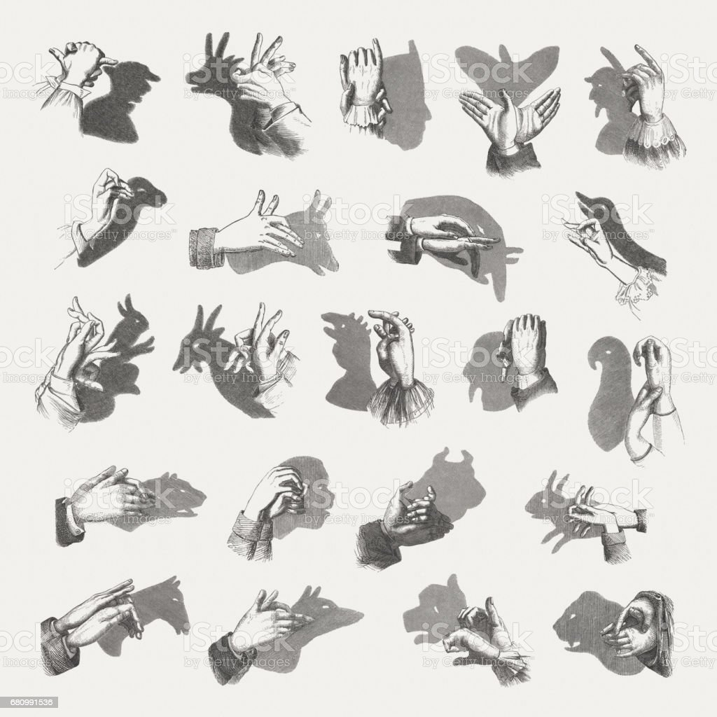 Hand shadow puppets, wood engravings, published in 1884 vector art illustration