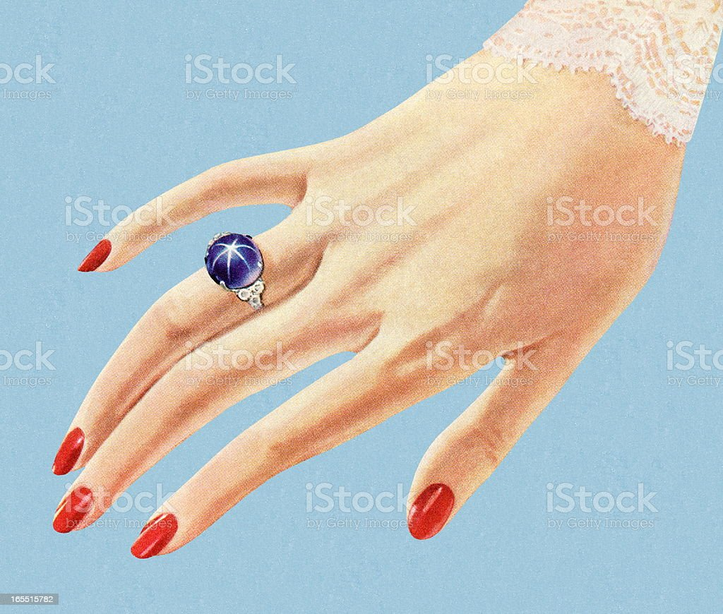 Hand Showing Off a Pretty Blue Ring royalty-free hand showing off a pretty blue ring stock vector art & more images of adult