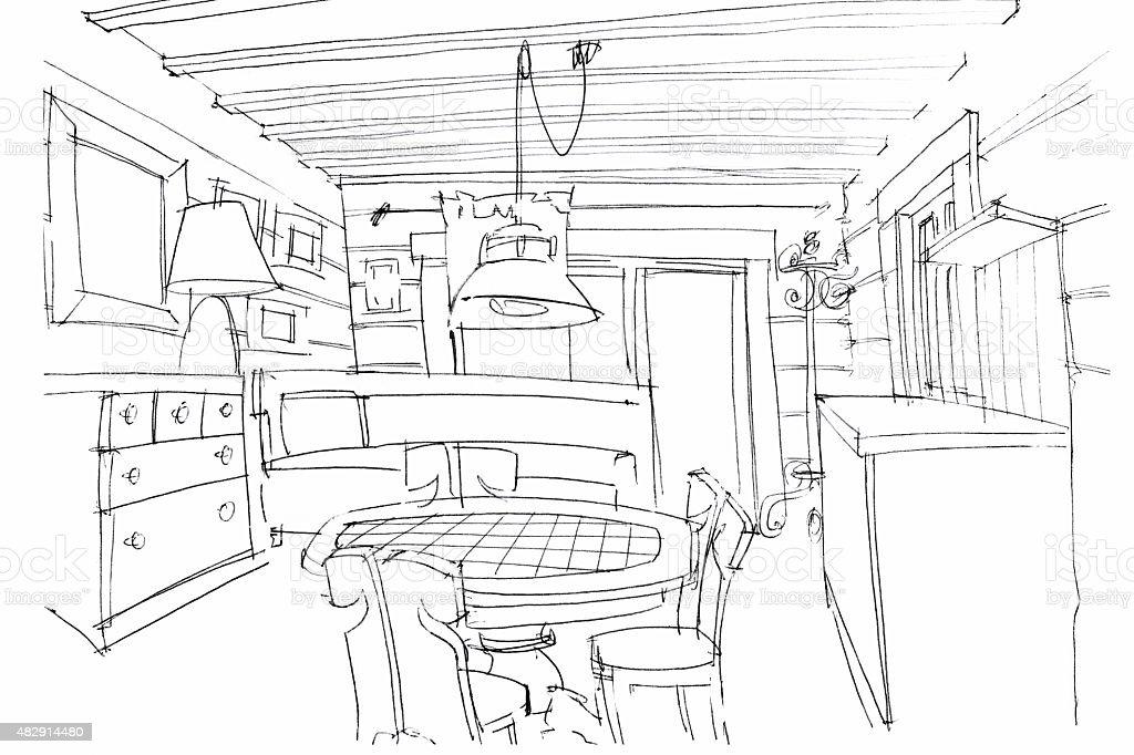 Hand Zeichnen Auf Eine Moderne Küche Interior Stock Vektor Art Und