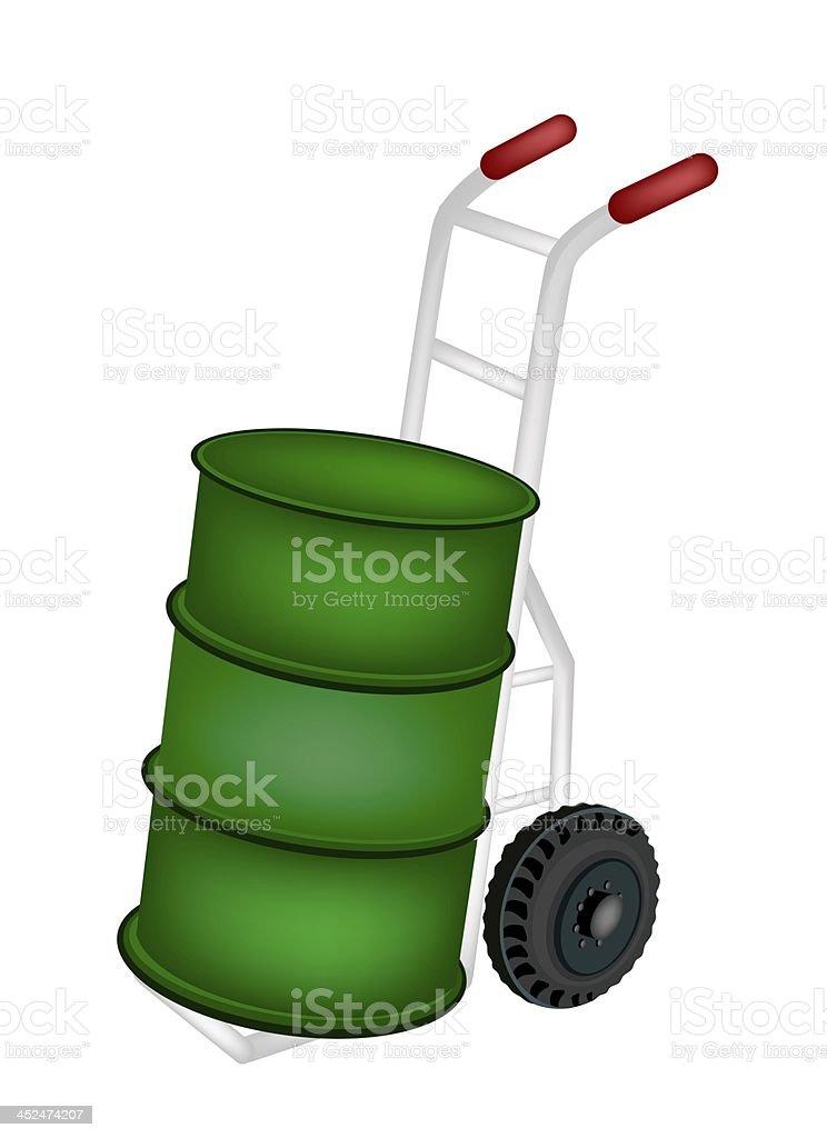Hand Truck Loading An Oil Tank royalty-free stock vector art