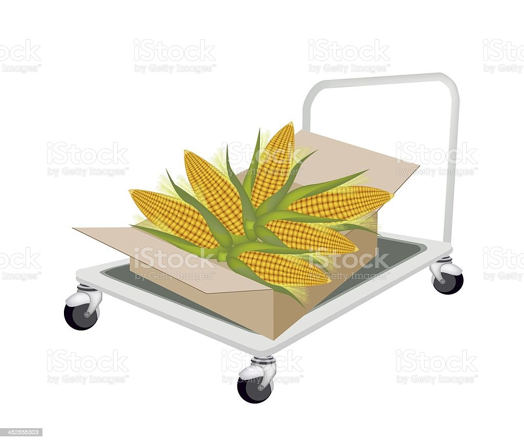 Hand Truck Loading Fresh Corns in Shipping Box royalty-free stock vector art