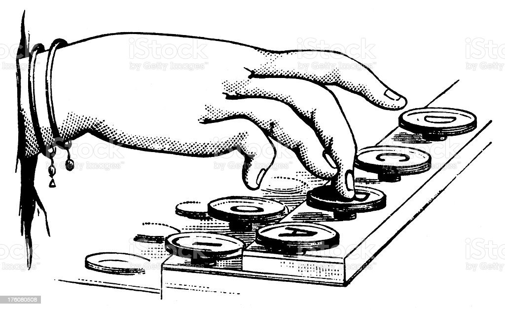 Hand typing on a typewriter | Antique Design Illustrations royalty-free stock vector art
