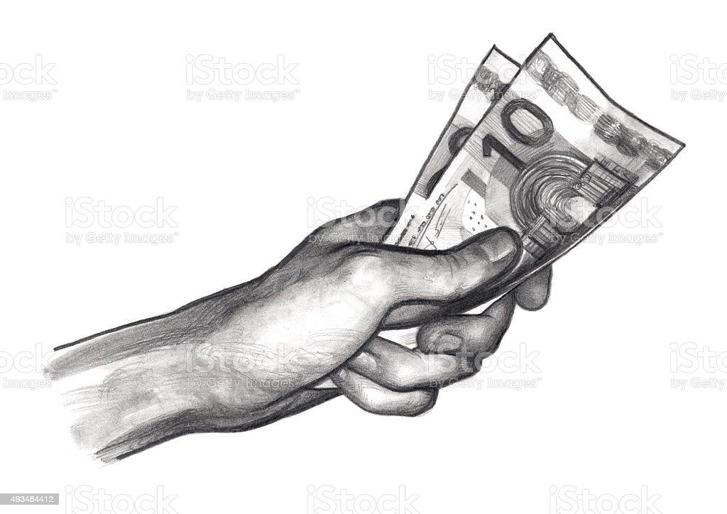 La main avec de l'argent, euros - Illustration vectorielle