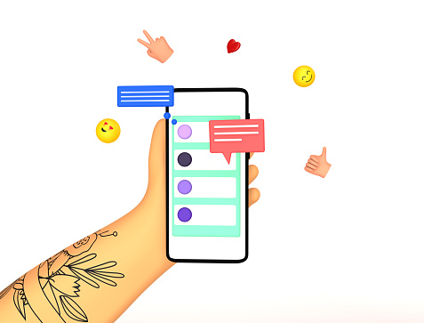 Hand with tattoo holding smartphone with short messages, chatting, sending smiles, likes. Online communication concept. Colorful trendy 3d render illustration.