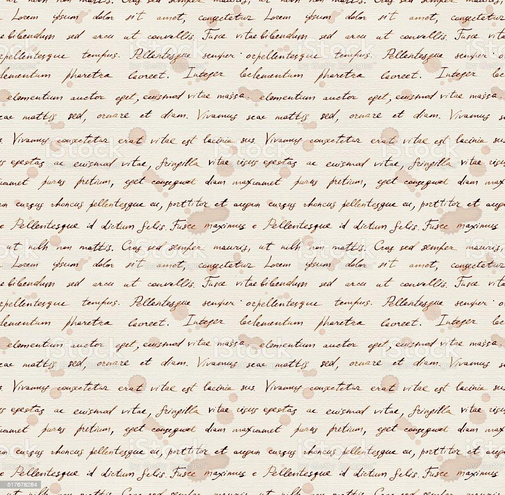 Hand writing note - latin text Lorem ipsum. Repeating pattern vector art illustration