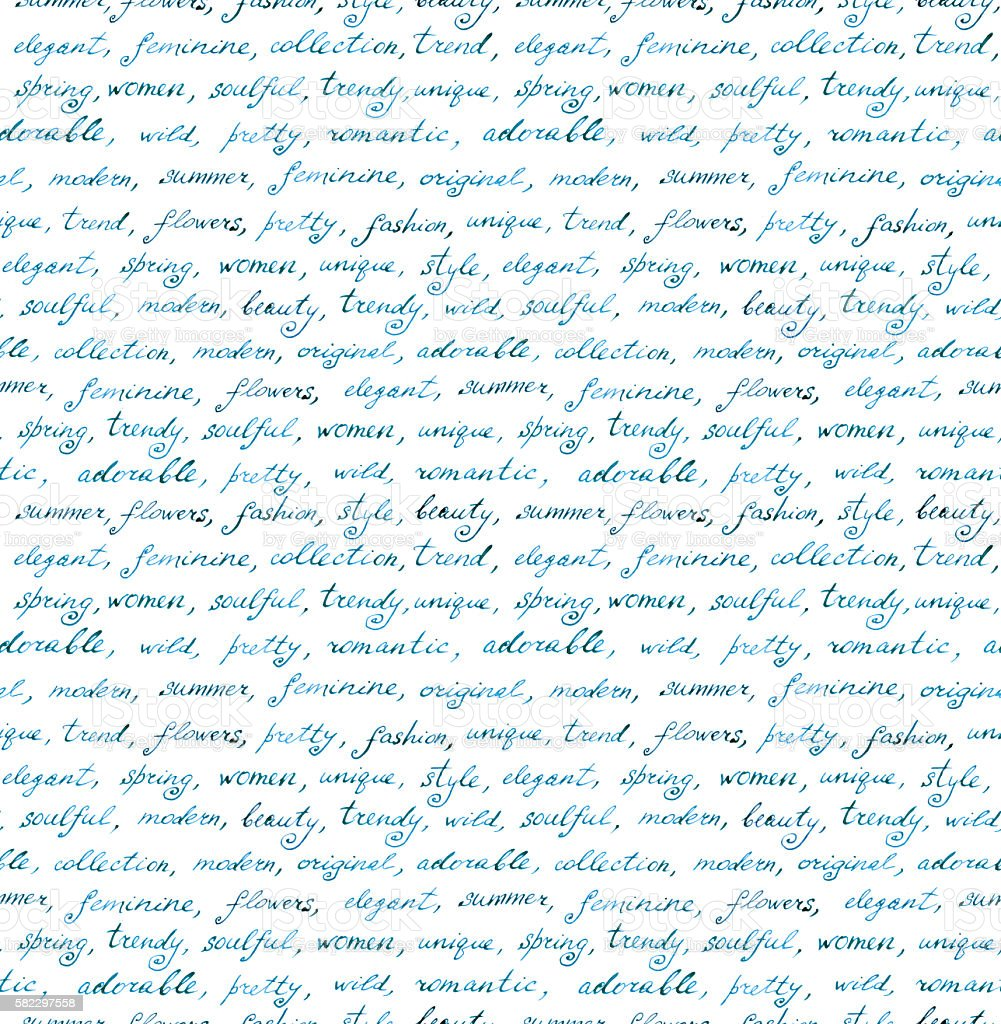 Hand written text - lorem ipsum. Repeating pattern, handwritten background vector art illustration