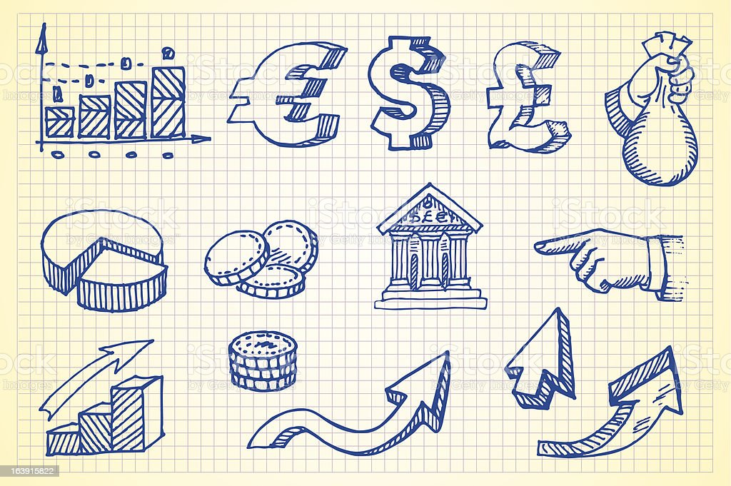 Hand-drawn currency illustration set 4 vector art illustration