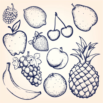 Hand-drawn fruits and berries