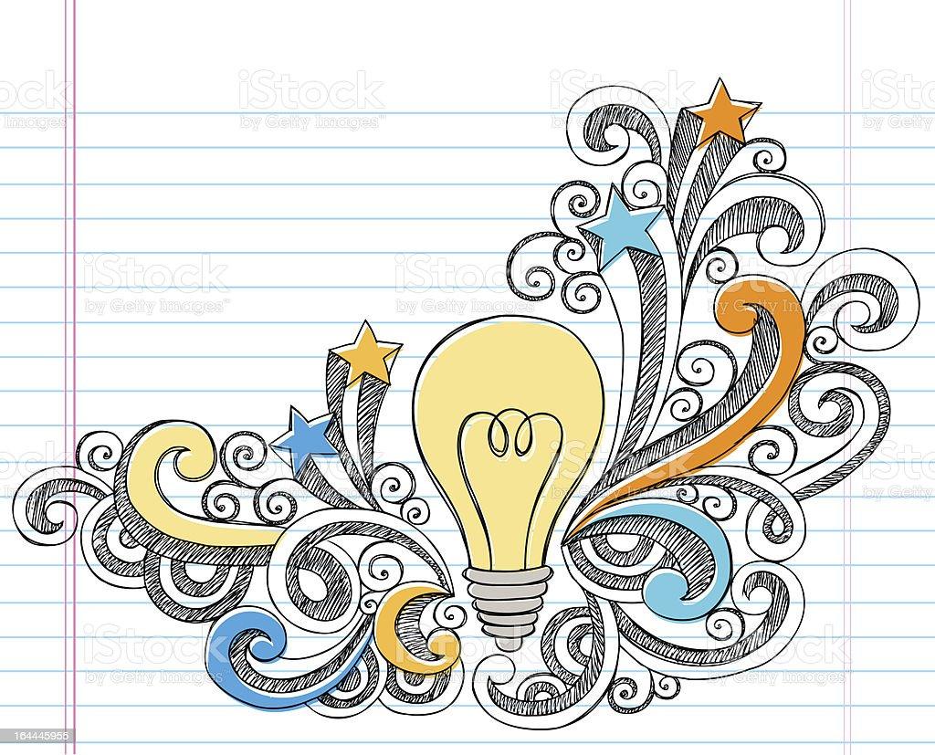 Hand-Drawn Light Bulb Idea Sketchy Notebook Doodles vector art illustration