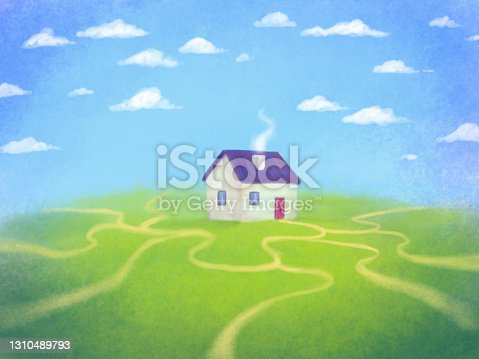 istock hand-drawn little house standing on a hill, many roads around. Metaphor for setting your own path, achieving goals in life, buying a house 1310489793
