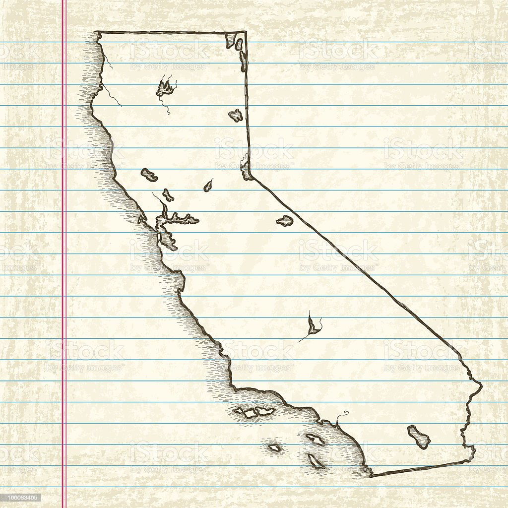Hand-Drawn Map of California vector art illustration