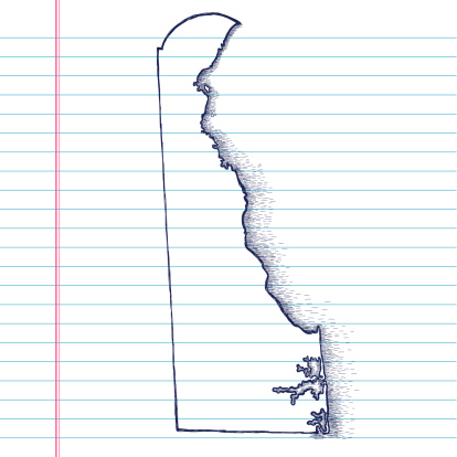 Hand-Drawn Map of Delaware