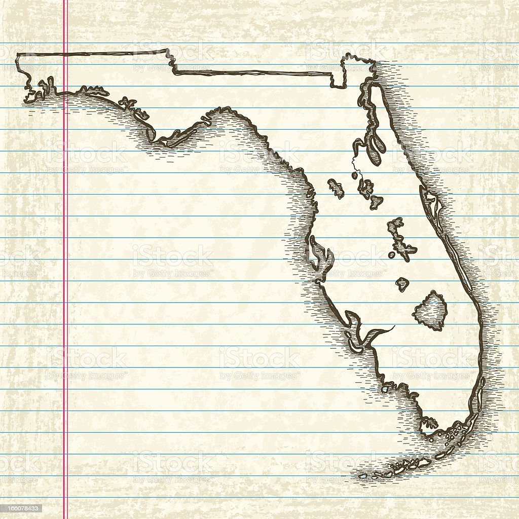 Handdrawn Map Of Florida Stock Vector Art & More Images of Beige ...