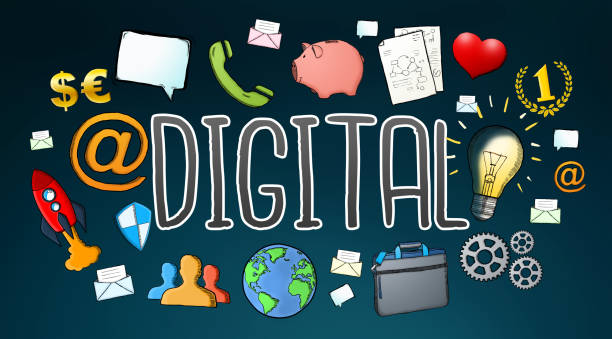 ilustrações de stock, clip art, desenhos animados e ícones de hand-drawn multimedia technology digital text with icons on dark background - business woman hologram