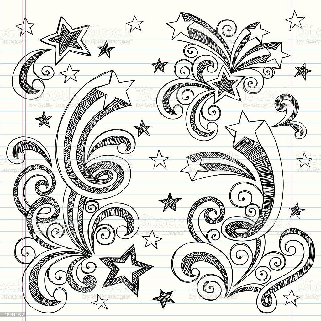 Hand-Drawn Shooting Stars Sketchy Notebook Doodles vector art illustration