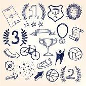 Hand-drawn sketchy doodle sports illustration