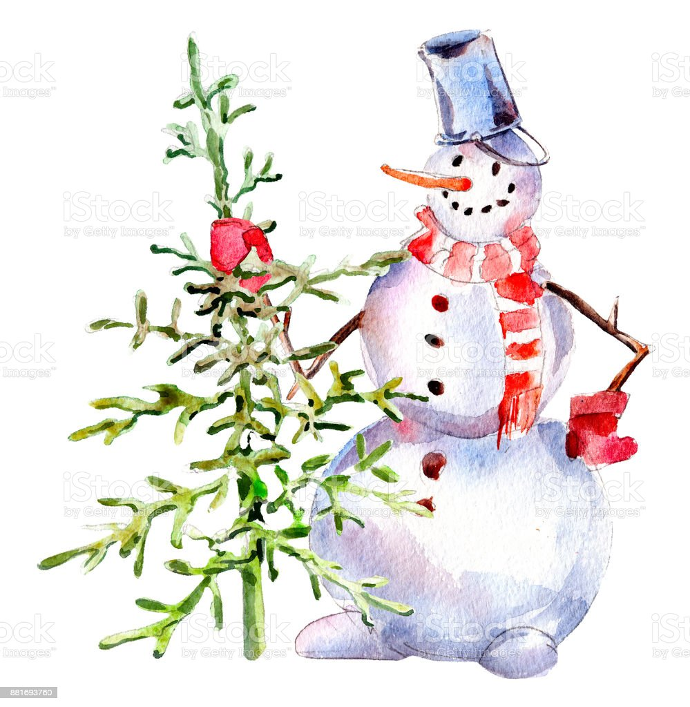 Christmas Illustrations Vintage.Handdrawn Vintage Snowman With Firtree Watercolor Christmas