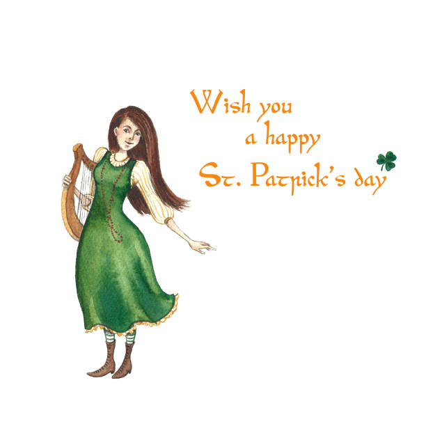 Hand-drawn watercolor girl in a green dress with a harp. Character for St. Patrick's day. Isolated on white background Hand-drawn watercolor girl in a green dress with a harp. Cartoon character for St. Patrick's day. Isolated on white background ARPA stock illustrations