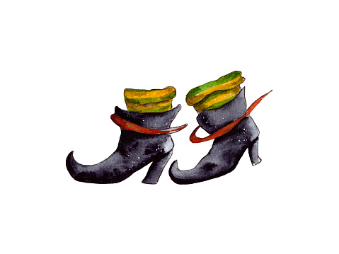 Hand-drawn watercolor illustration. Halloween celebration, holiday attributes. Black witch boots, fairy shoes. Two shoes and green leggings, a fairy-tale character