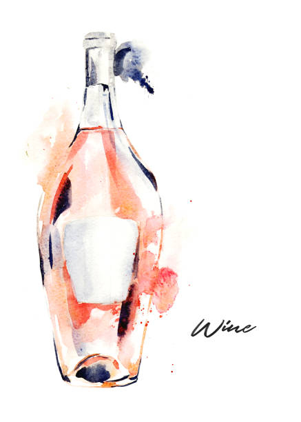 bildbanksillustrationer, clip art samt tecknat material och ikoner med handritade akvarell illustration av vinflaska, röda vinet. - vitt vin glas