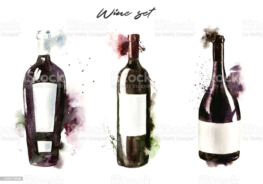 Handdrawn Watercolor Illustration Of The Wine Bottles Red Stock Download Image Now Istock