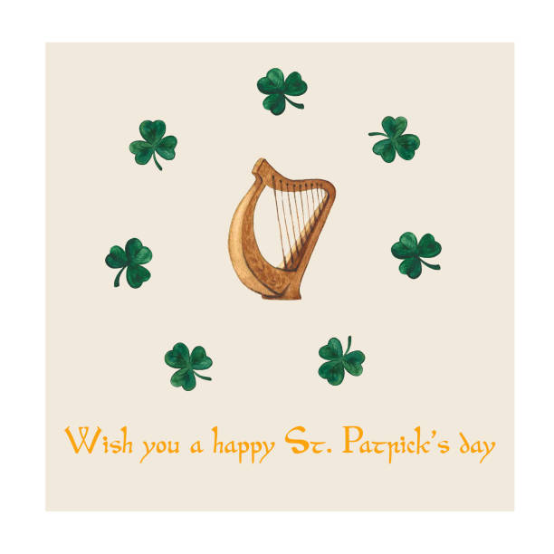 Hand-drawn watercolor irish harp with clovers for St. Patrick's day Hand-drawn watercolor irish harp with clovers. Postcard for St. Patrick's day ARPA stock illustrations