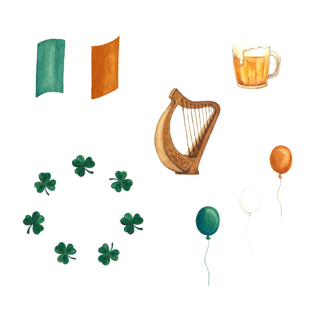 Hand-drawn watercolor set of irish symbols for St. Patrick's day. Isolated on white background Hand-drawn watercolor set of irish symbols for St. Patrick's day- flag, harp, clover . Isolated on white background ARPA stock illustrations