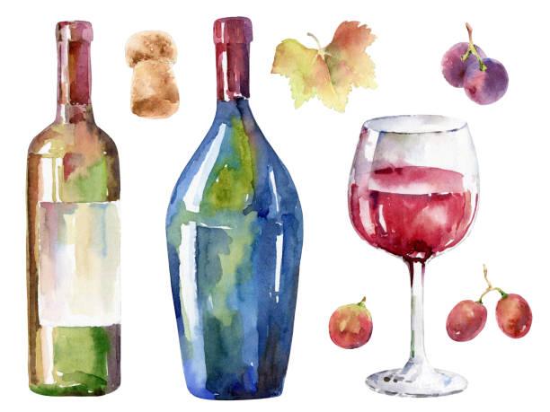 illustrazioni stock, clip art, cartoni animati e icone di tendenza di hand-drawn wine set. watercolor illustration - mika