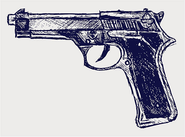 Handgun close-up Handgun close-up. Vector gun stock illustrations
