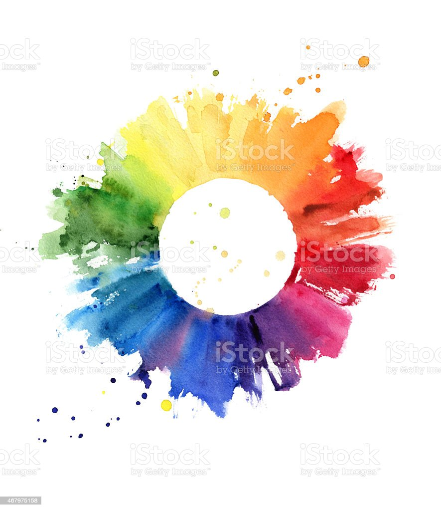 Handmade color wheel vector art illustration
