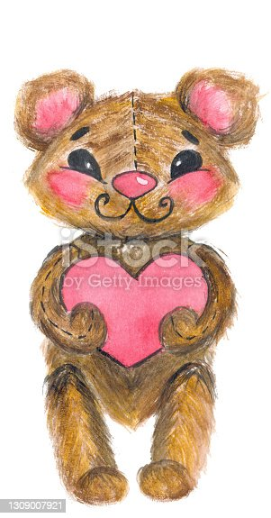 Handmade watercolor drawing of a fluffy teddy bear with a heart in its paws.