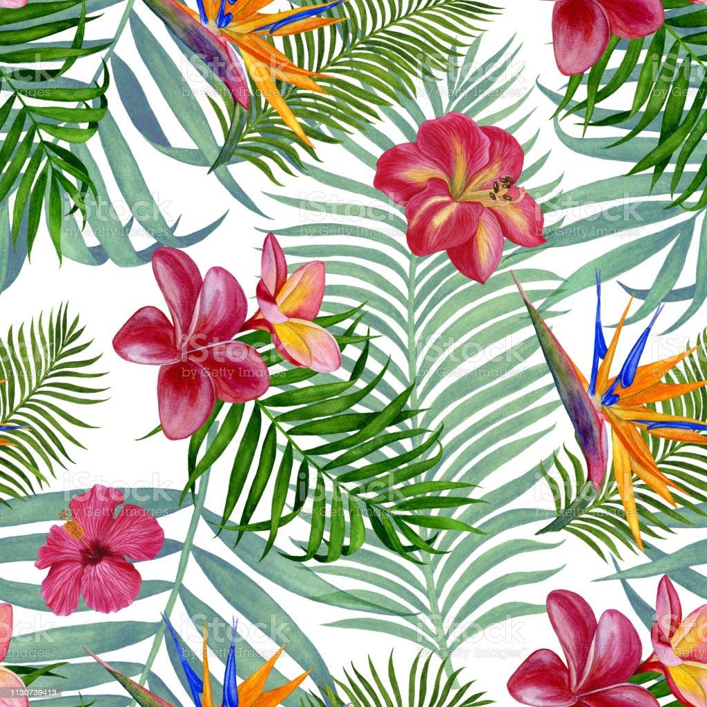Papier A Peindre Motif peinture À laquarelle À la main floral tropical seamless