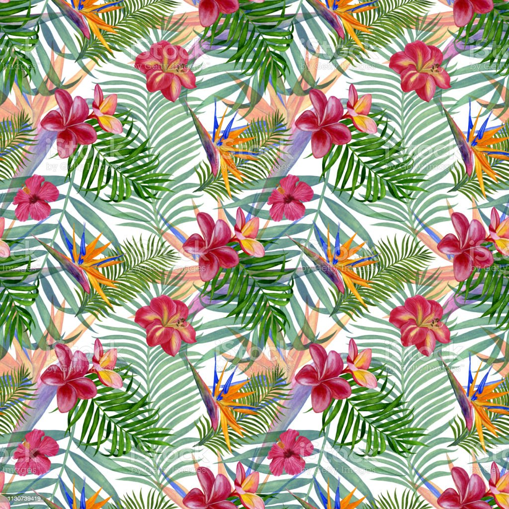 Handmade Watercolour Painting Floral Tropical Seamless Pattern For