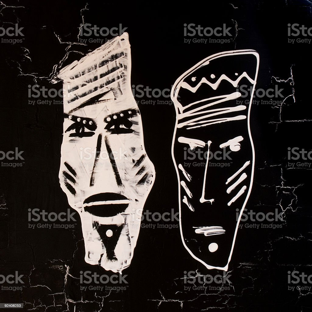 Handpainted african design black and white illustration