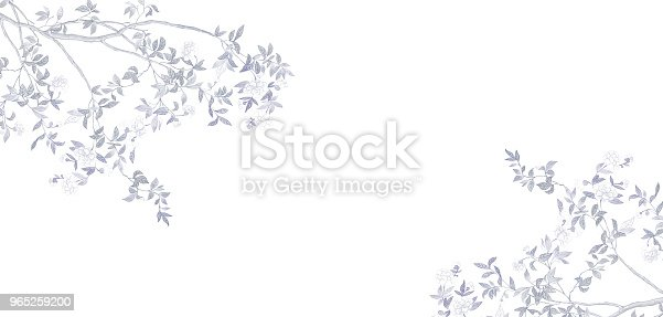 Handpainted Branches And Flowers Stock Vector Art & More Images of Art 965259200
