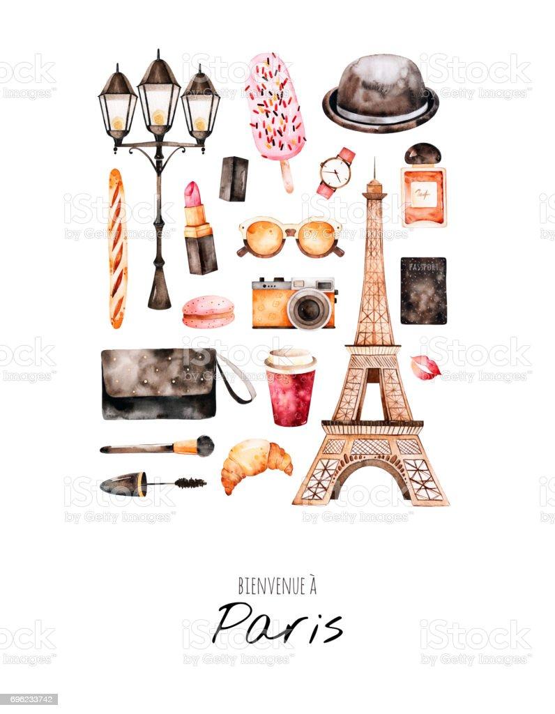 Handpainted postcard with cosmetics,Tour Eiffel, coffee,camera,parfum vector art illustration