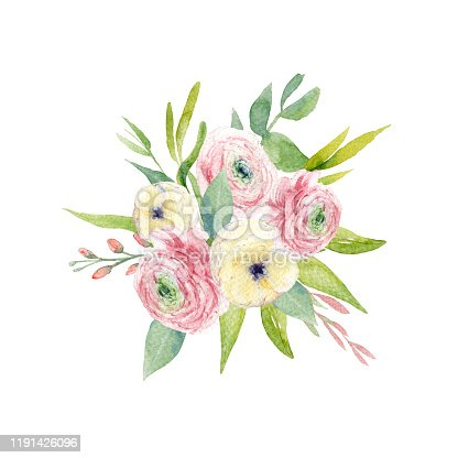 Handpainted watercolor bouquet of pink and white ranunculus with greenery foliage. Floral arrangement. Perfect clipart for wedding invitation, greeting cards.