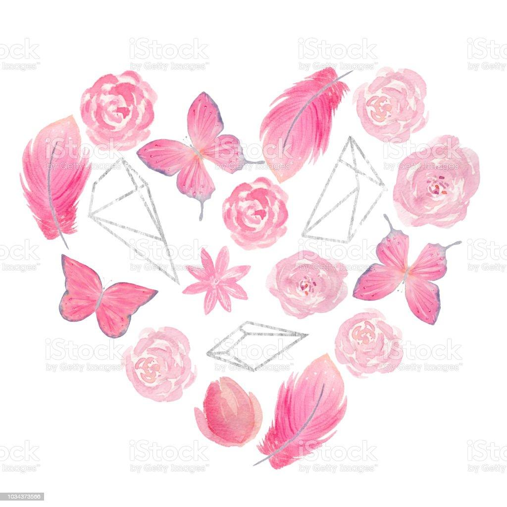 Handbemalt Aquarell Herz Mit Rosen Blumen Schmetterlinge Federn Und